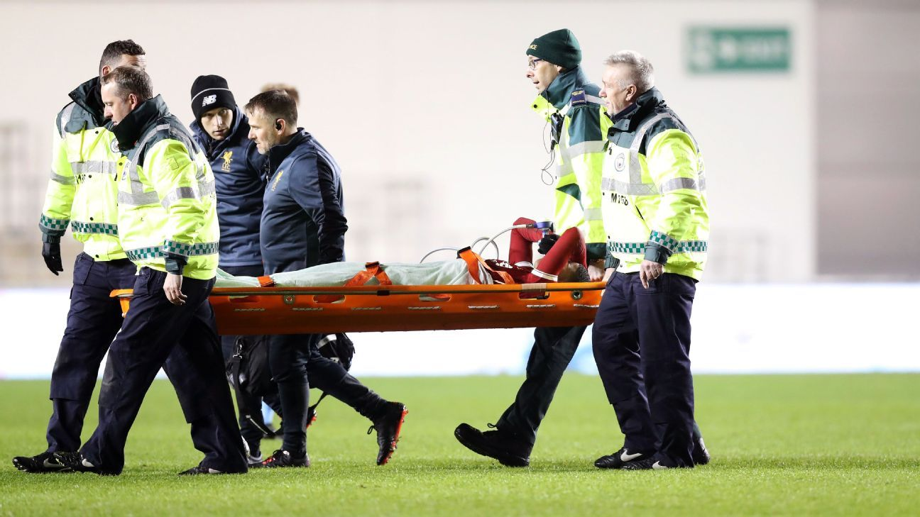 Rhian Brewster leaves the field on a stretcher after sustaining an injury in a Premier League 2 match.