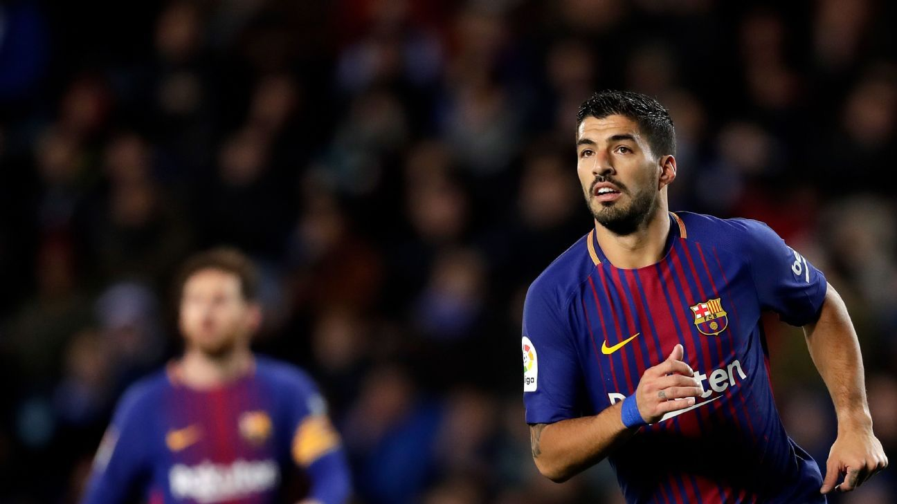 Luis Suarez celebrates after scoring a goal for Barcelona against Real Sociedad.