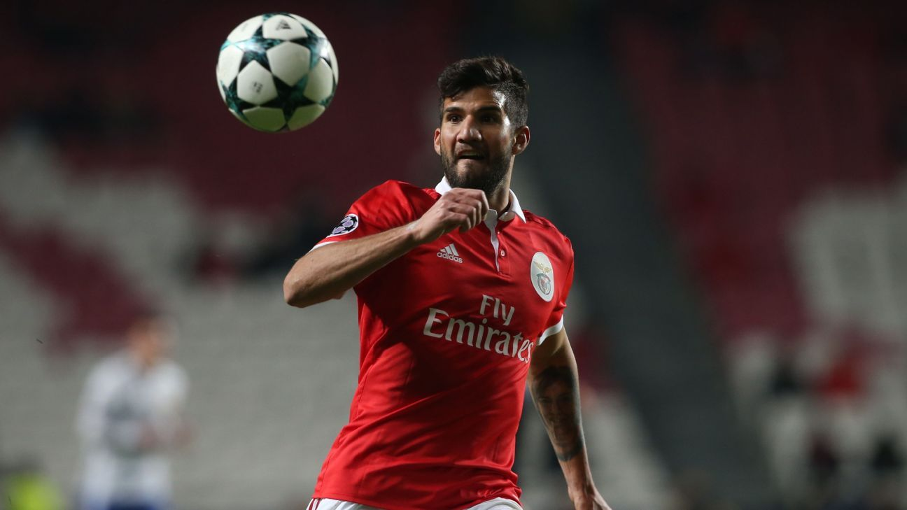 Lisandro Lopez in action for Benfica against Basel in the Champions League.