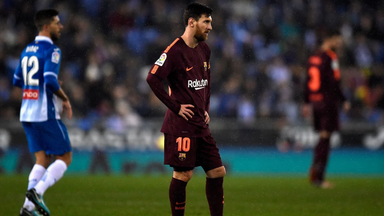 Lionel Messi had a rare off day, missing a crucial penalty at Espanyol.
