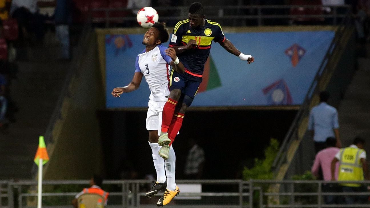 Chris Gloster, left, started for the U.S. at the Under-17 World Cup.