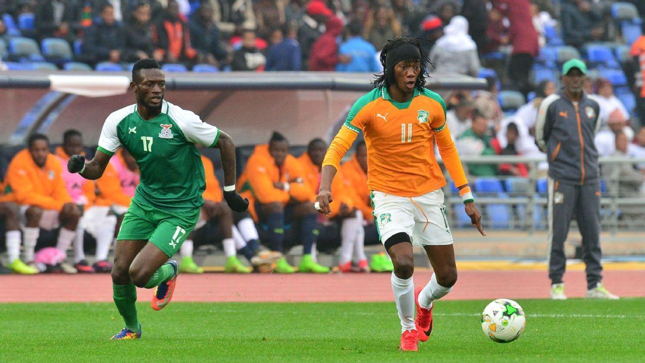 Augustine Kabaso Mulenga of Zambia & Fonsinho of Ivory Coast