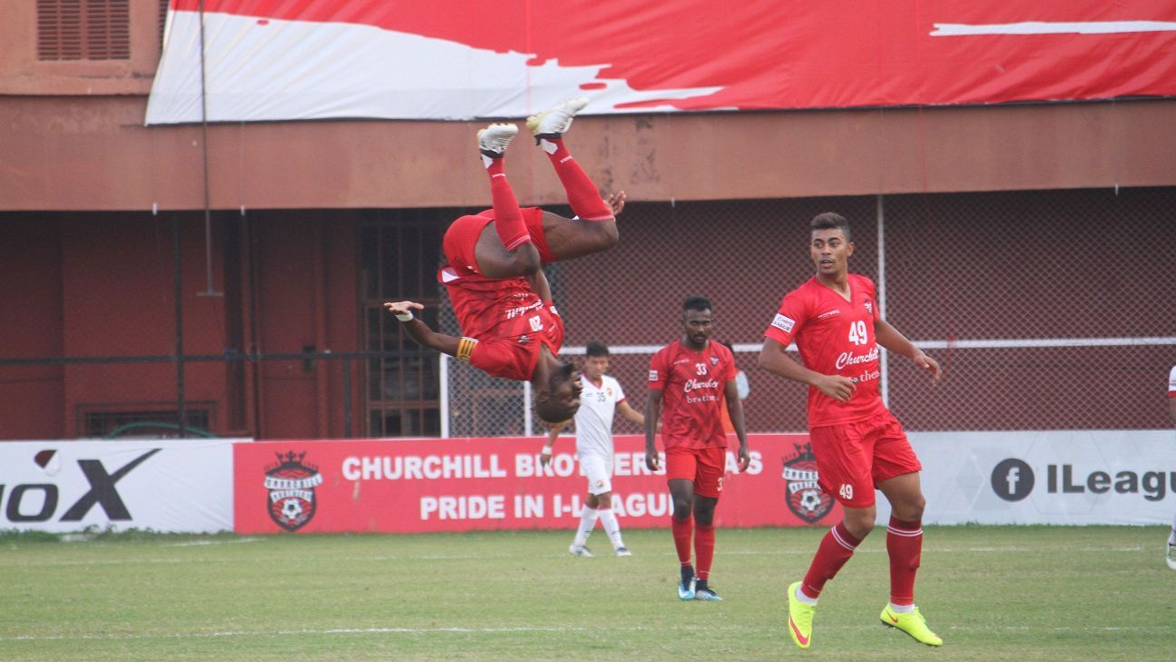 Monday Osagie celebrates Churchill's opening goal vs Shillong Lajong.