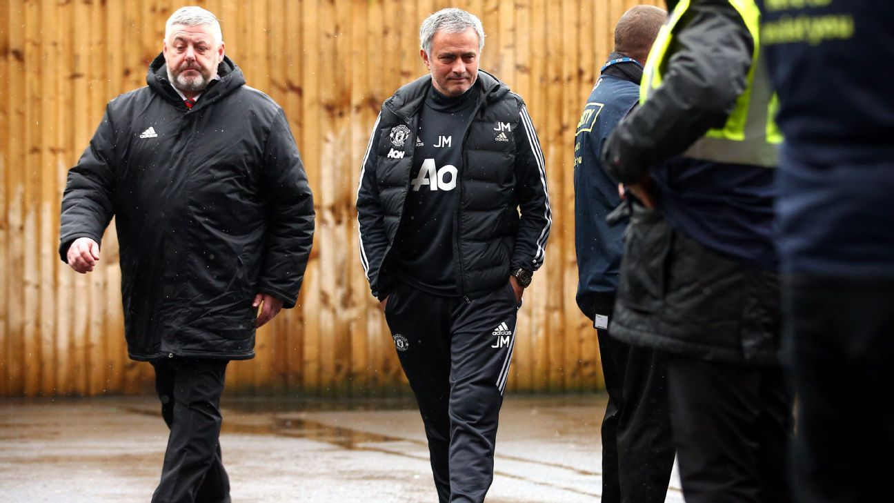 Jose Mourinho arrives before Manchester United's game with Burnley at Turf Moor.
