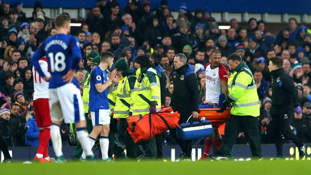 Everton's James McCarthy carried stretchered off after leg broken in challenge with West Brom's Salomon Rondon