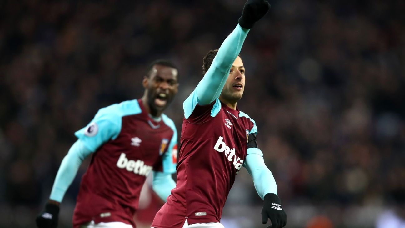 West Ham's Javier 'Chicharito' Hernandez celebrates goal vs Bournemouth