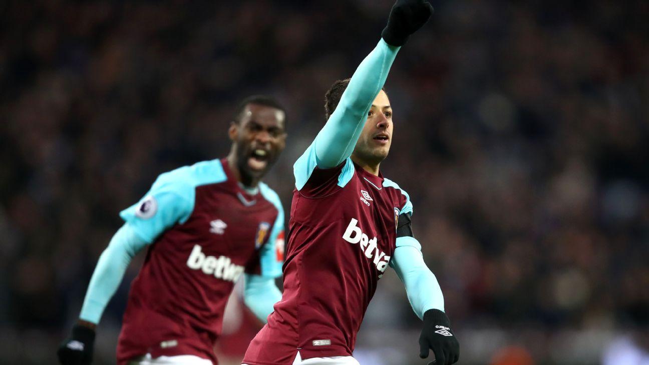 West Ham's Javier 'Chicharito' Hernandez celebrates goal vs Bournemouth