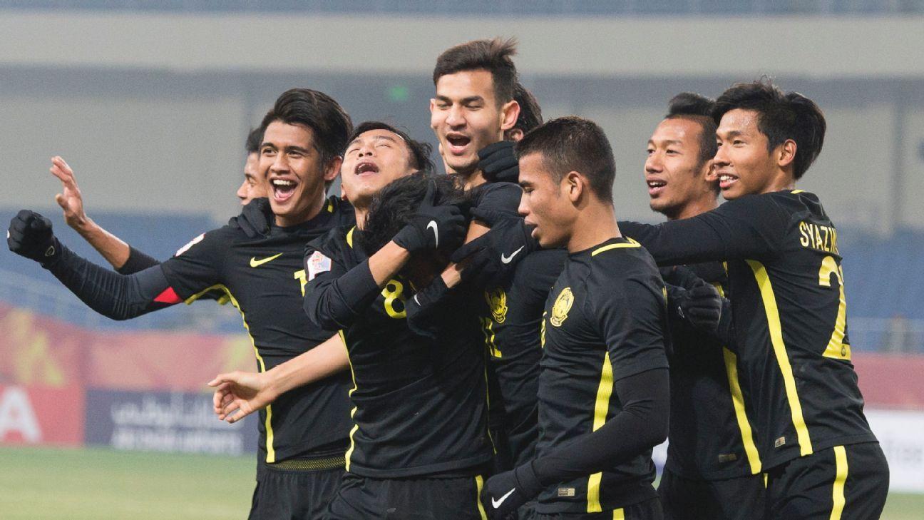Malaysia U23 celebrate goal vs. Korea 2018