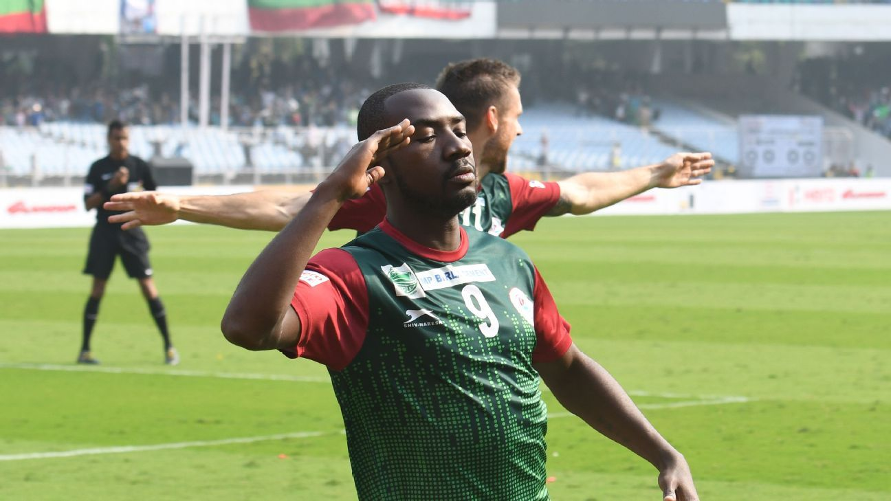 Asier Dipanda Dicka celebrates his goal against East Bengal.