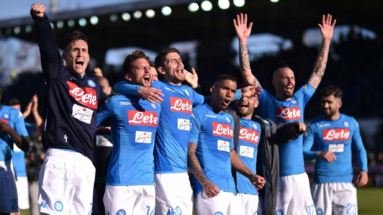 Napoli celebrate at full-time after beating Atalanta.
