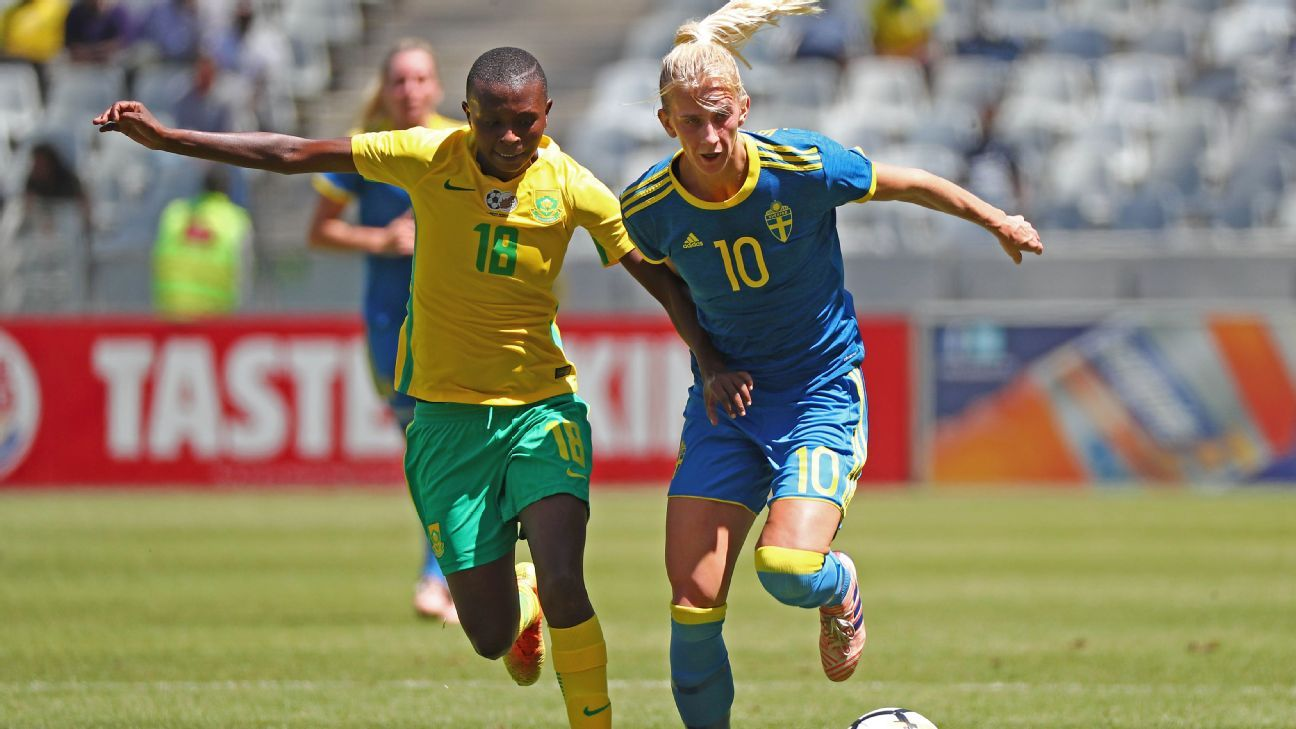 Experienced Banyana Banyana midfielder Nompumelelo Nyandeni tries to challenge Sweden's influential playmaker Sofia Jakobsson during a friendly international in Cape Town.