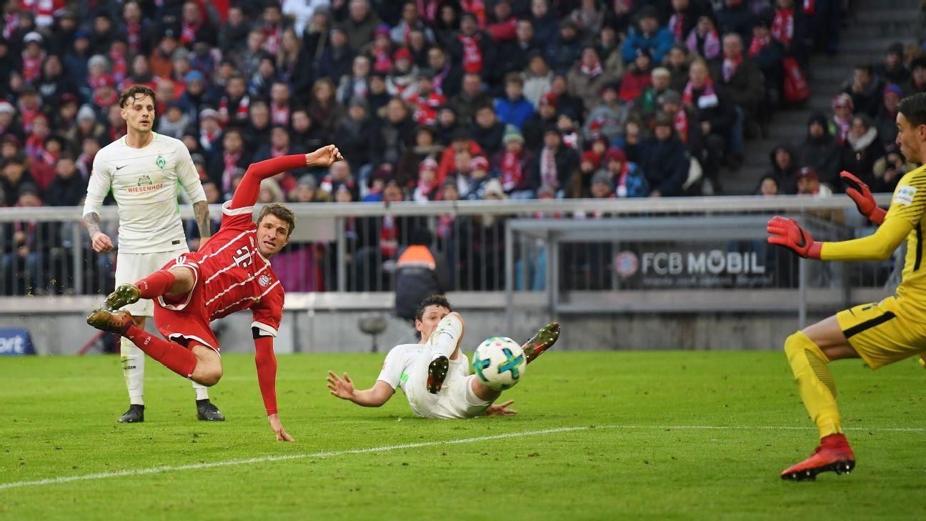 Bayern Munich's Thomas Muller scores equaliser vs Werder Bremen