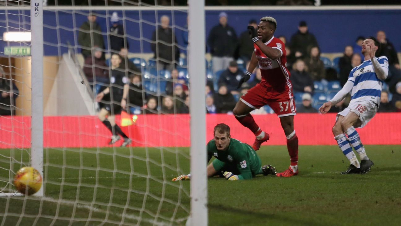 Adama Traore of Middlesbrough scores his side's third goal past Alex Smithies of Queens Park Rangers