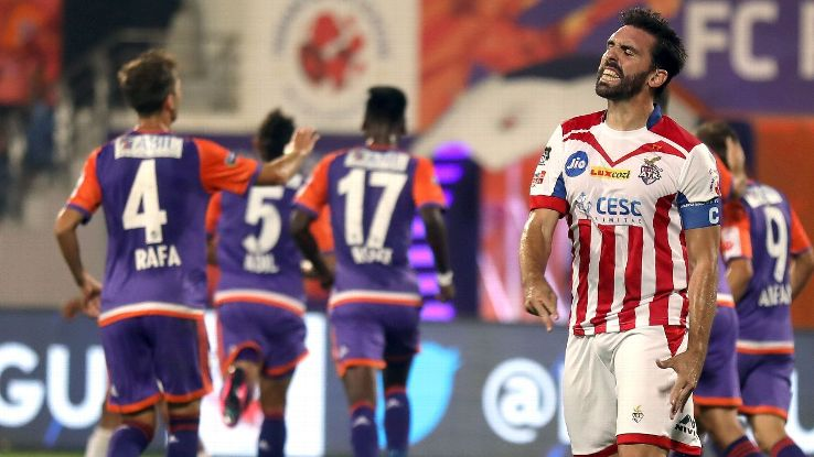 ATK's Jordi Figueras Montel reacts during his team's 3-0 loss to Pune City on January 20, 2018.