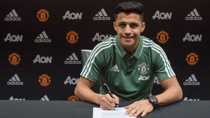 Alexis Sanchez signed with Manchester United January 22, 2018.
