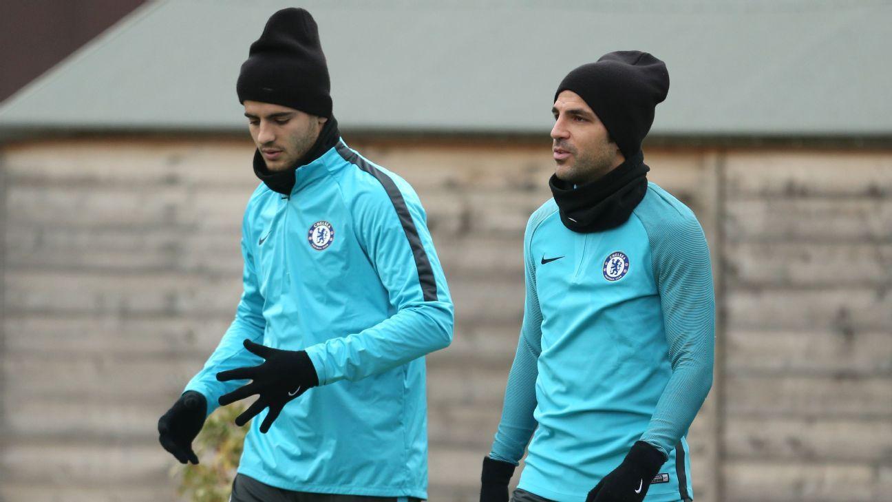 Chelsea's Alvaro Morata and Cesc Fabregas in training