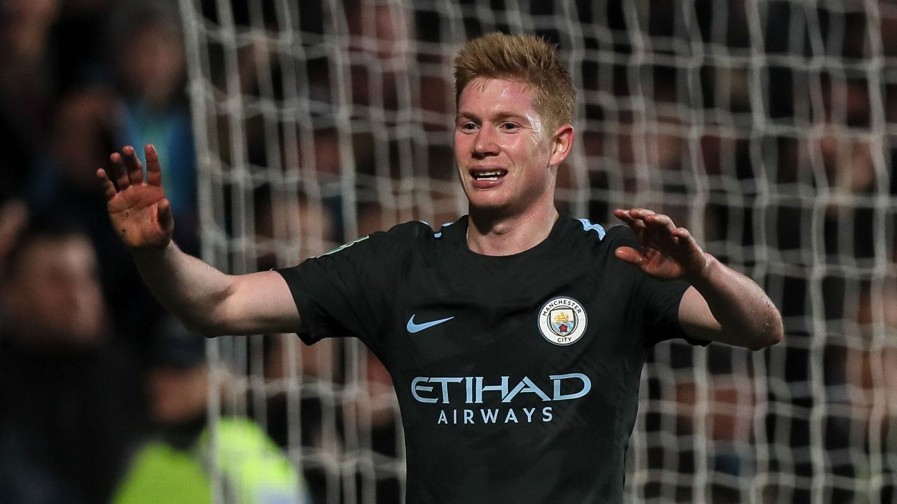Kevin De Bruyne's fine season continued with a goal and an assist vs. Bristol.