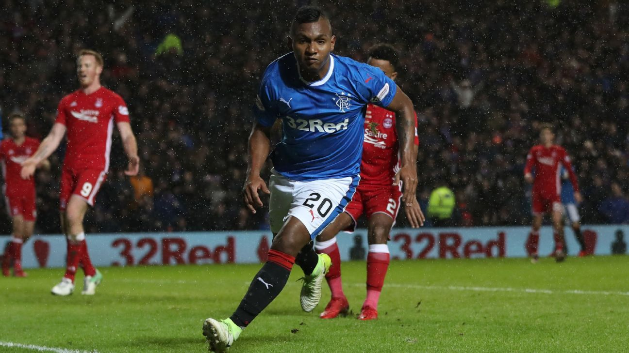 Alfredo Morelos celebrates after scoring a goal for Rangers against Aberdeen.