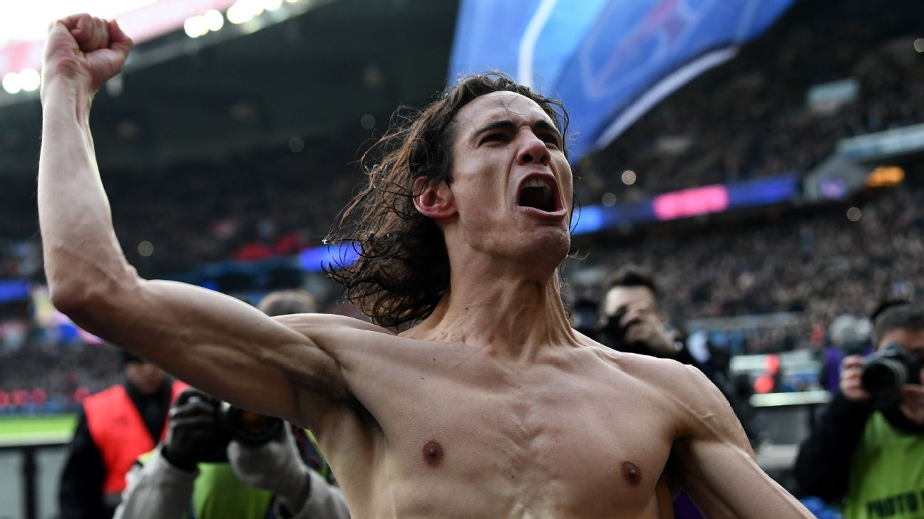 Edinson Cavani celebrates breaking Paris Saint-Germain's all-time goal record with 157th strike for club vs Montpellier