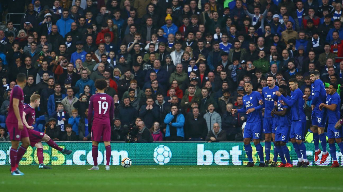 Manchester City's Kevin De Bruyne scores opening goal vs Cardiff