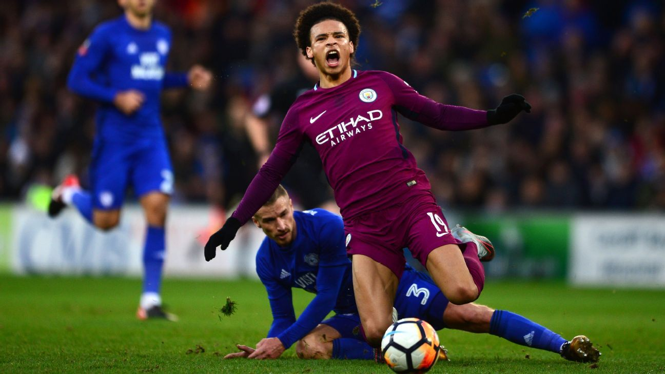 Manchester City's Leroy Sane was substituted at half-time after being fouled by Cardiff's Joe Bennett.