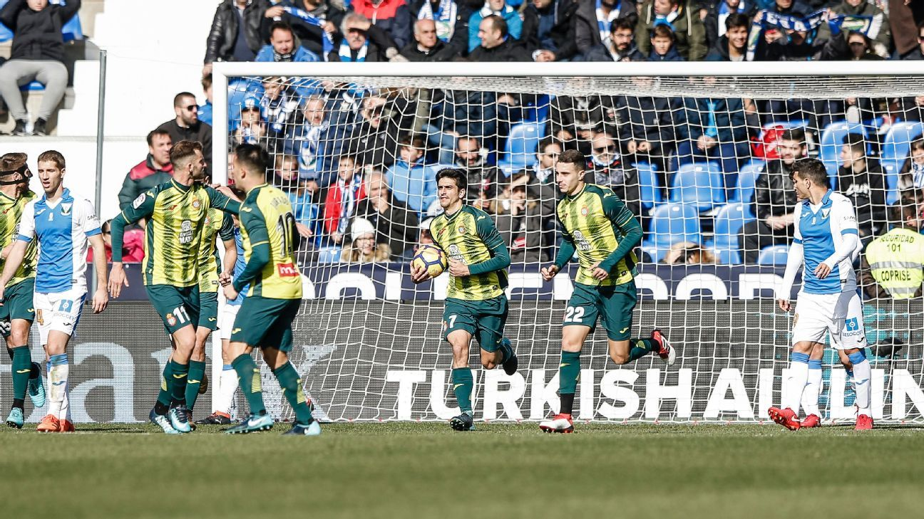 Espanyol players celebrate after scoring a goal in a 3-2 loss to Leganes.