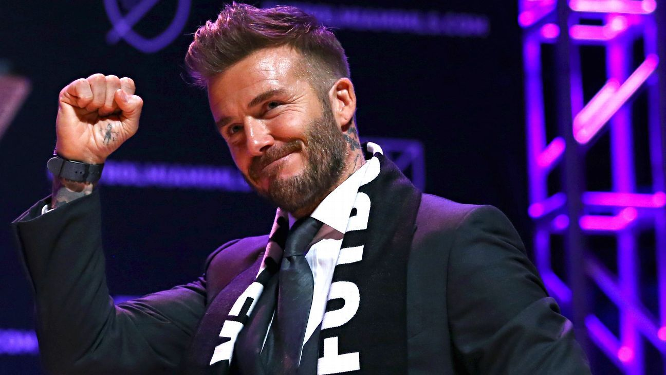 Jan 29, 2018; Miami, FL, USA; MLS team owner David Beckham speaks during the Miami MLS expansion team announcement at the Adrienne Arsht Center.