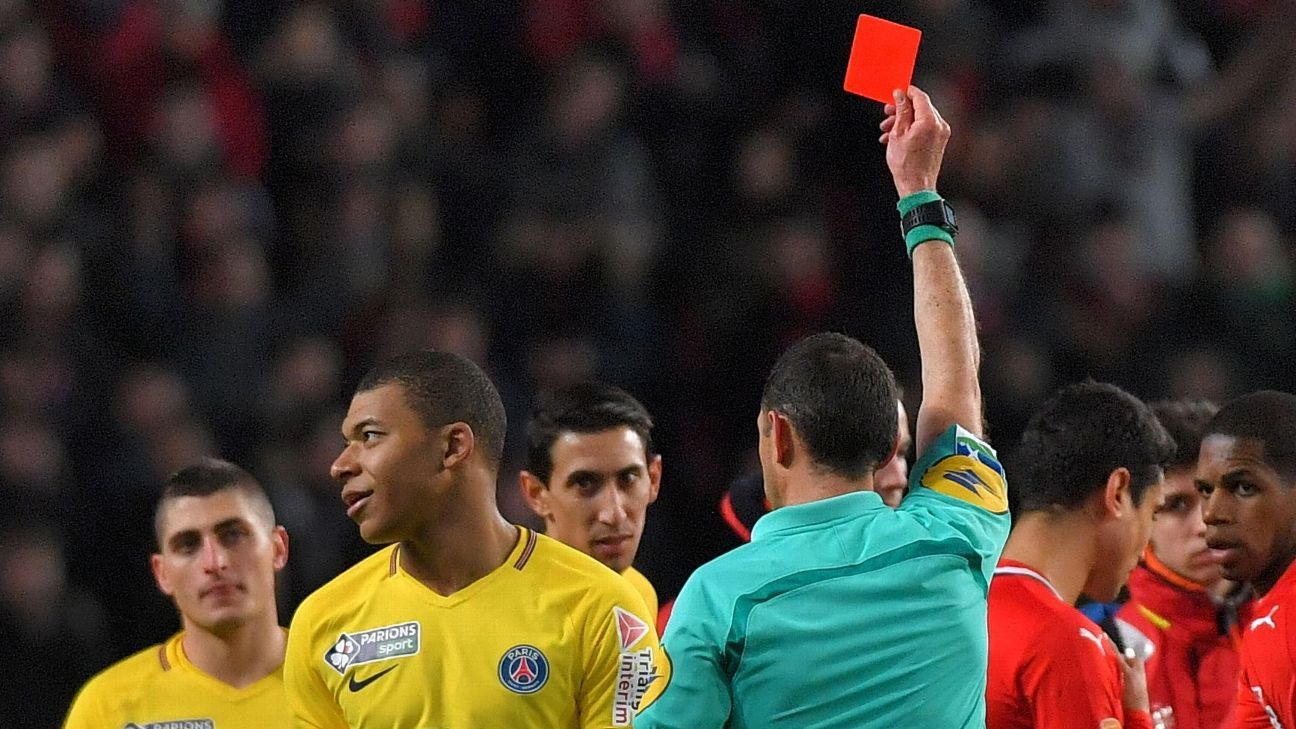 Kylian Mbappe saw red for the first time in his career at Rennes.