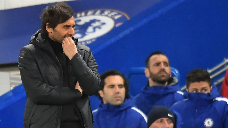 Antonio Conte looks on as Chelsea lose to Bournemouth in the Premier League.