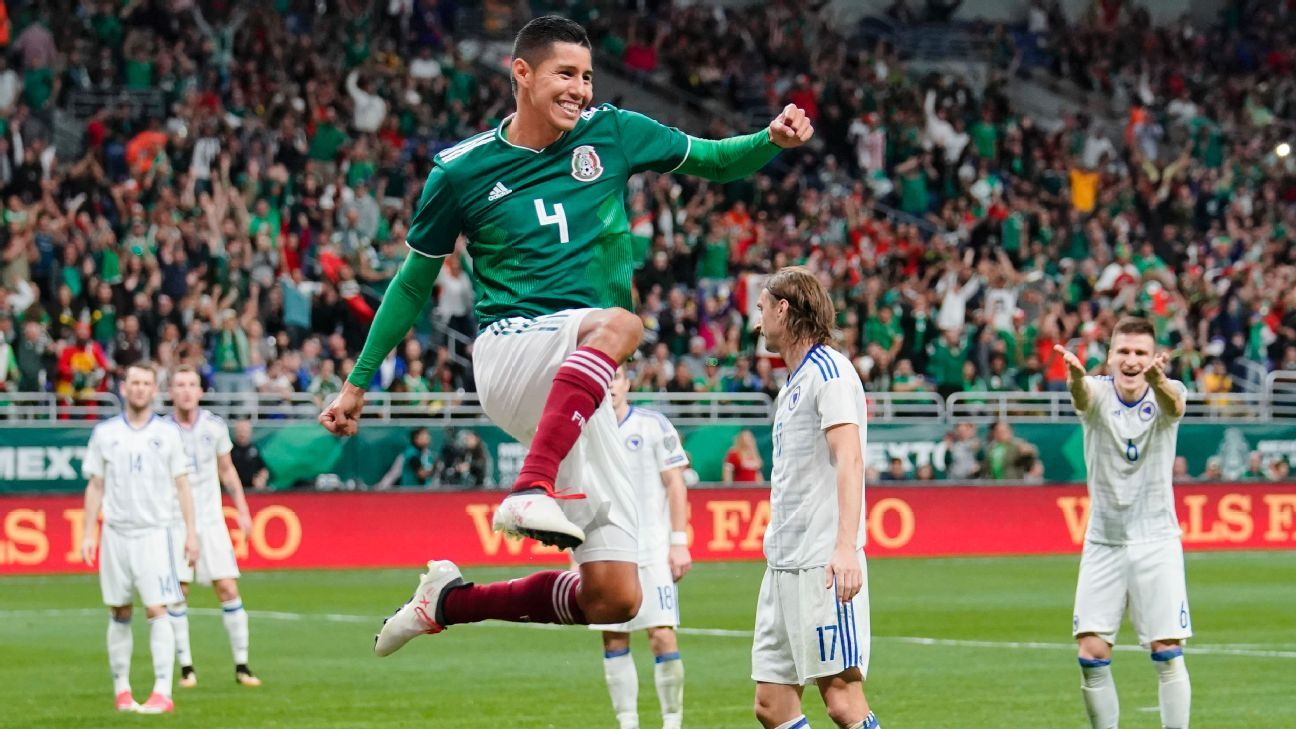 Hugo Ayala celebrates after scoring a goal for Mexico in a friendly with Bosnia-Herzegovina.