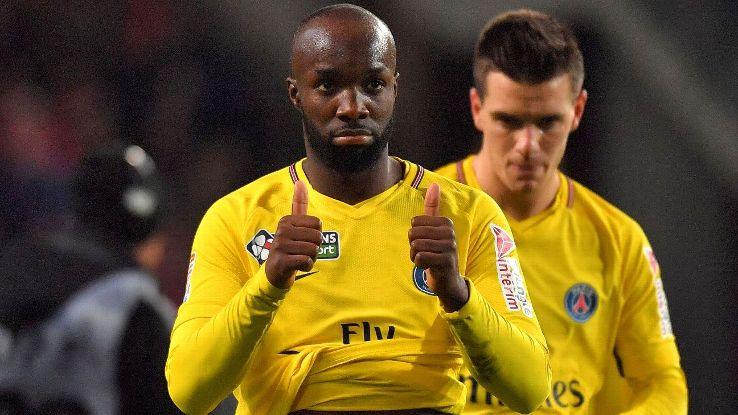 Paris Saint-Germain midfielder Lassana Diarra gives a thumbs-up.