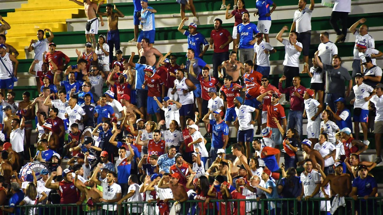 Nacional fans watch their team in action against Chapecoense in the Copa Libertadores.