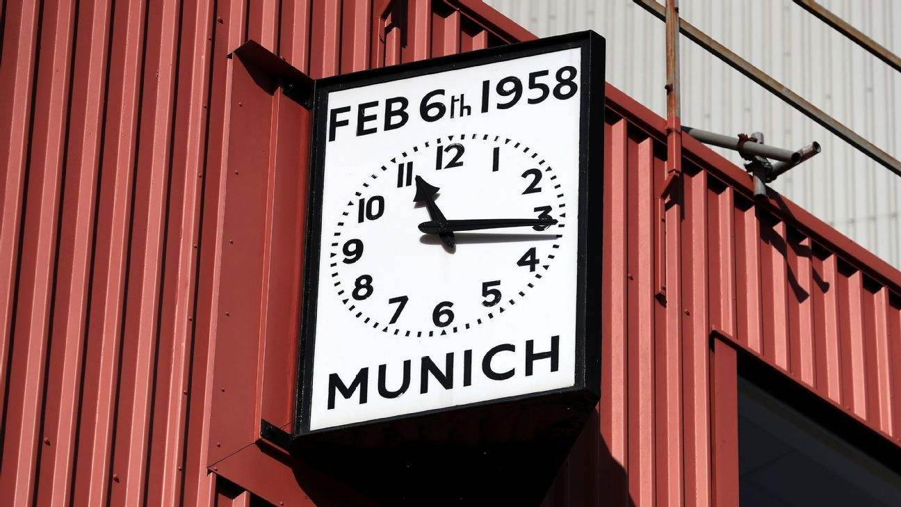 Manchester United have a clock at Old Trafford commemorating the 1958 Munich air disaster