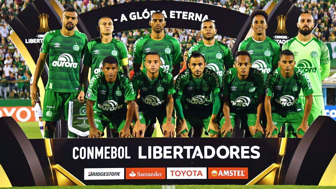 Chapecoense players pose for a photo ahead of a Copa Libertadores match against Nacional.