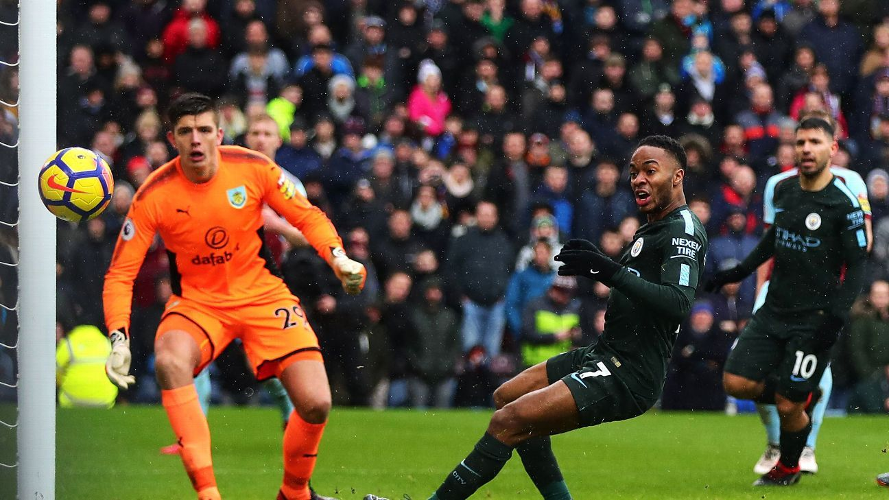 Raheem Sterling's two point-blank misses proved costly at Burnley.
