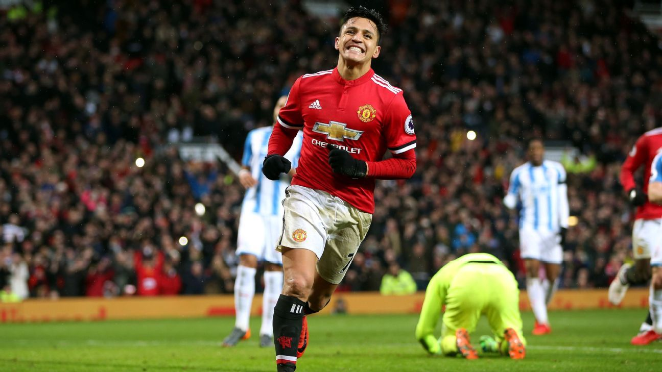 Alexis Sanchez celebrates his first goal for Manchester United.