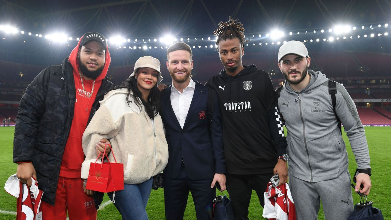 Pop star Rihanna took in Arsenal's 5-1 win over Everton.