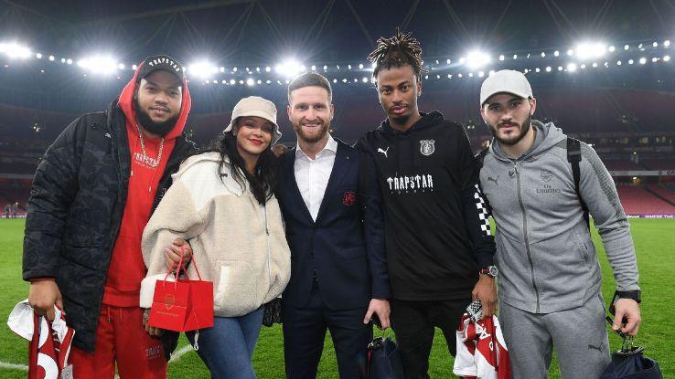 Pop star Rihanna took in Arsenal's 5-1 win over Everton.