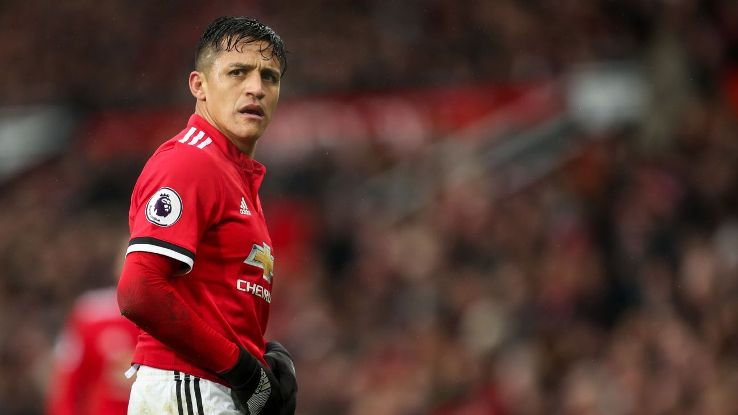 Alexis Sanchez during Manchester United's Premier League win against Huddersfield.