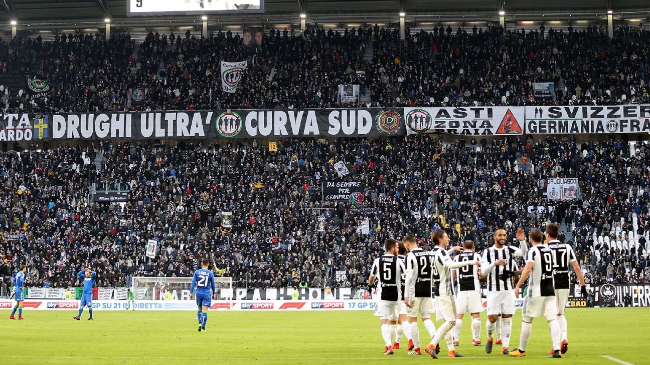 Juventus players celebrate during their Serie A win against Sassuolo.