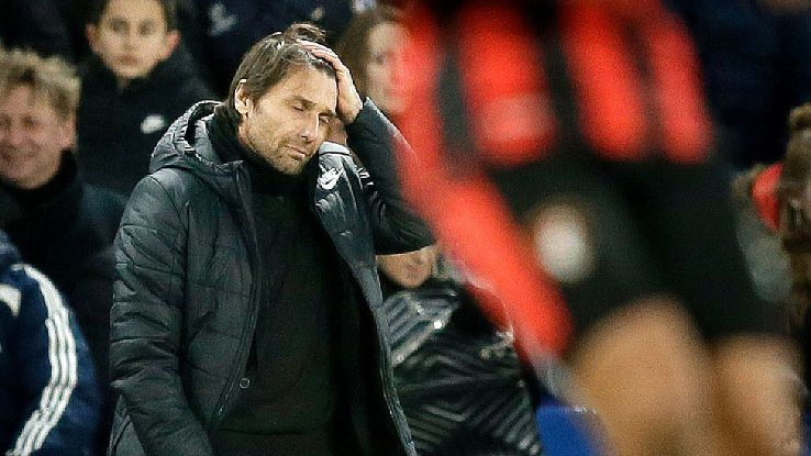 Chelsea manager Antonio Conte looks dejected during the English Premier League soccer match between Chelsea and Bournemouth at Stamford Bridge in London, Wednesday Jan. 31, 2018.