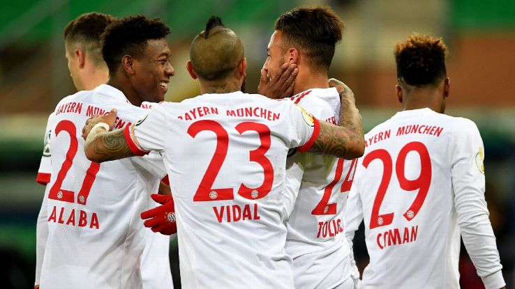Bayern Munich celebrate during their rout of third division Paderborn.