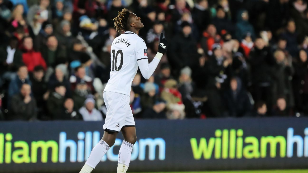 Tammy Abraham celebrates after scoring one of his two first-half goals for Swansea against Notts County.