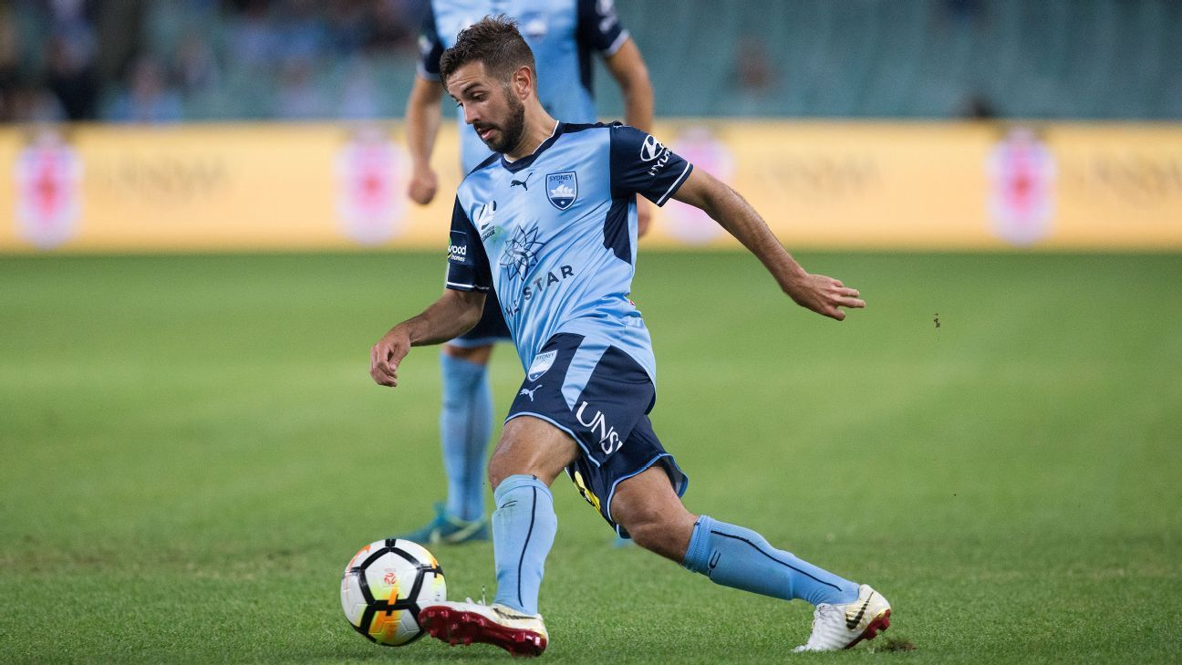 Michael Zullo dribbles the ball during Sydney FC's 4-0 win against Wellington Phoenix.