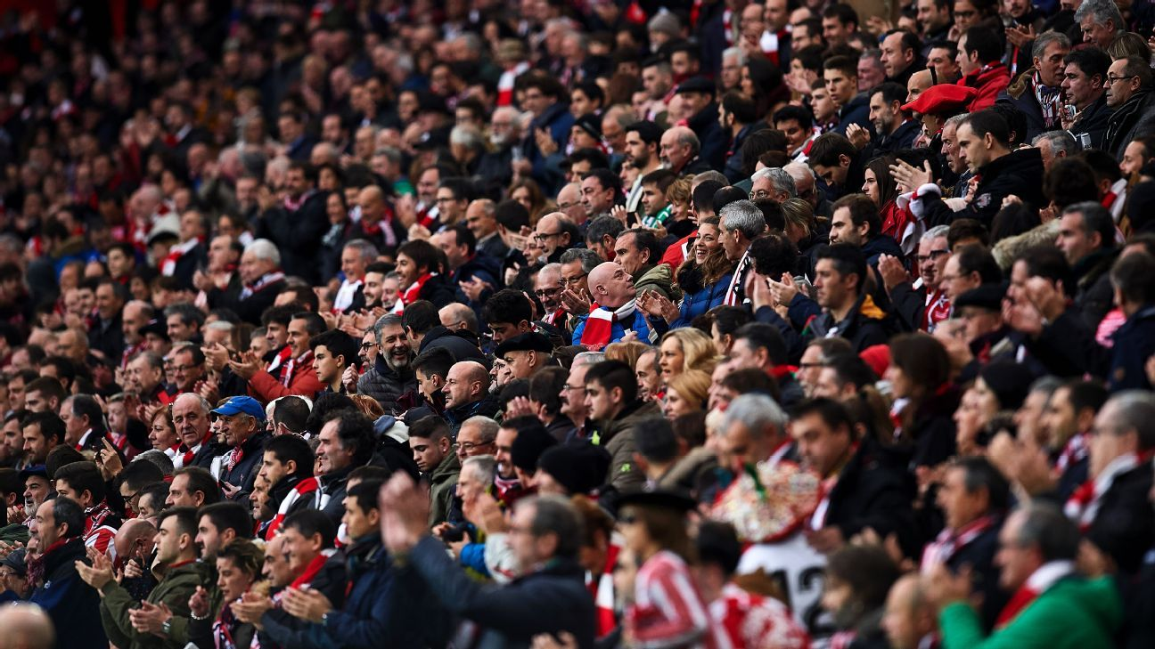 Athletic Bilbao supporters during the La Liga match against Real Sociedad.