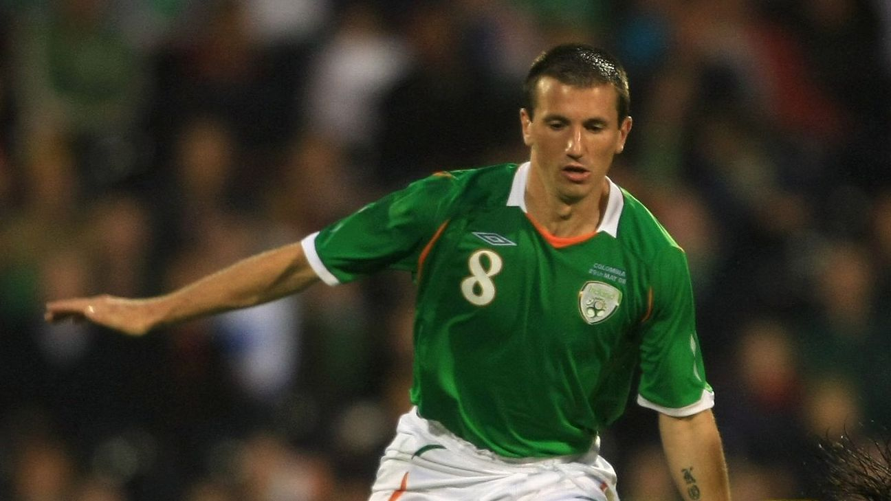 Liam Miller in action for Republic of Ireland against Colombia.