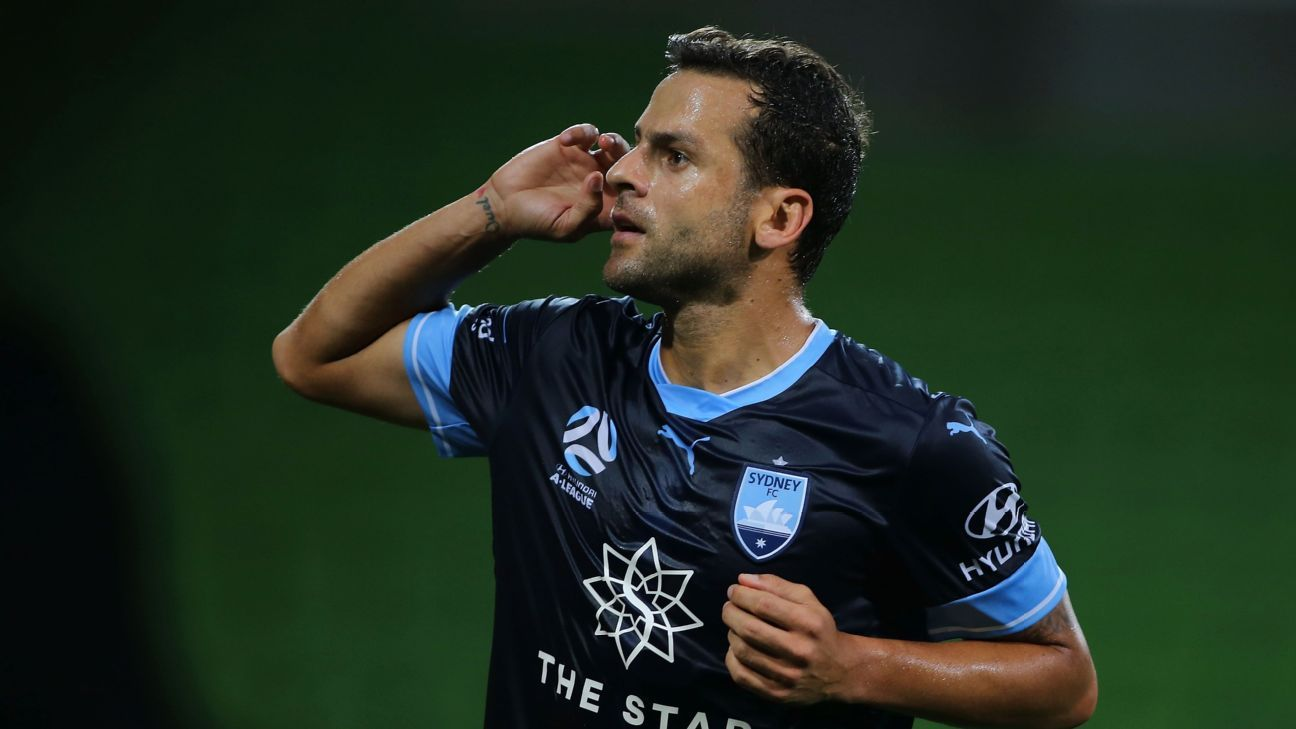 Bobo celebrates after scoring for Sydney FC in their Australian A-League win against Melbourne City.