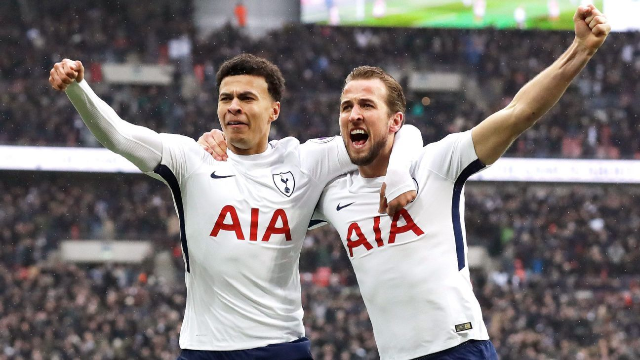 Harry Kane and Dele Alli celebrate after Tottenham take the lead in their Premier League game against Tottenham.