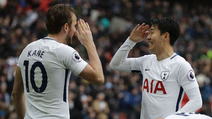 Harry Kane and Son Heung-min celebrate after Tottenham take the lead against Arsenal.