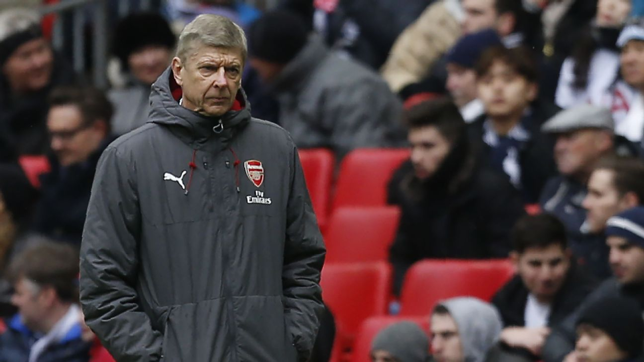 Arsene Wenger during Arsenal's North London derby defeat to Tottenham.